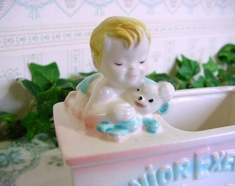 Vintage 50s INARCO Baby Boy Planter - Junior Executive -Great for Nursery Container -Bird Rattle Teddy Bear Foil Label