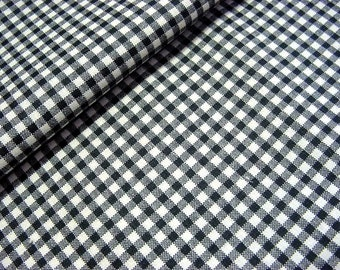 "Vintage 50s Cotton Gingham Plaid Fabric -Printed Small Black & White Check - 37"" wide BTY"