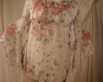 Silk Top Maiden of the Mist Art to Wear Delicate Vintage Silk with Transparent Sleeves with My Artwork