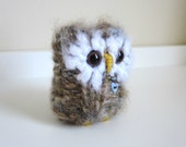 Silly Little Love Owl, Knitted Woodland Animal, Plush Wool and Mohair Doll