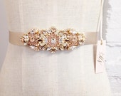 Swarovski Rose Gold and Blush Crystal Bridal Belt- Swarovski Crystal Bridal Sash- Rose Gold Bridal Sash