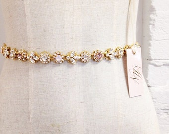 Dainty Gold Crystal Bridal Belt- Skinny Gold Crystal Bridal Belt- Swarovski Crystal Bridal Sash- Blush Bridal Belt