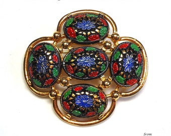 "60s Sarah Cov Enameled Mosaic Brooch called ""Light of the East""on Gold Metal - Vintage 60's Costume Jewelry"