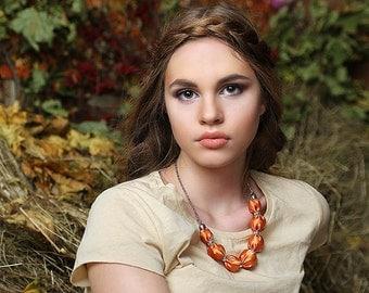 Orange fabric bead necklace Fall textile necklace