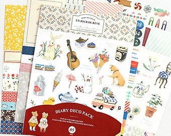 Un Jour De Reve Diary Deco Pack Stickers Ver. 5 - 9 sheets (4.7 x 6.3in)