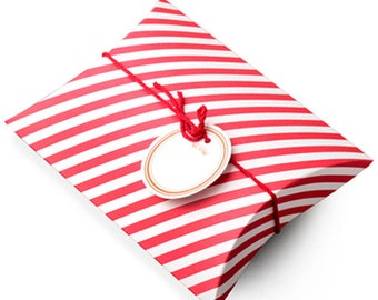 2 Red Stripe Gift Boxes - M size (5.4 x 7.3 x 1.6in)