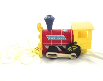 Fisher Price Toot Toot Train Engine, Vintage Wood and Plastic Pull Toy