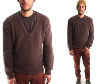 ROVER 80s Chocolate Brown Ribbed Knit Wool Acrylic V Neck Mens Retro Preppy Indie Earthy Bohemian Autumn Winter Pullover Sweater Medium