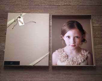 Recycled Kraft Photography Boxes for 8x10 prints-  box measures 8 1/4 x 10 1/4 x 7/8-- Set of 5