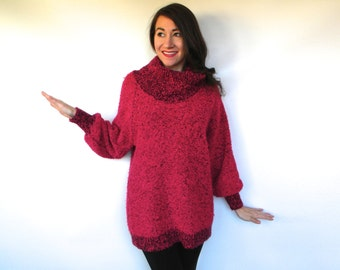 80s Hot Pink Sweater   Cowl Neck Sweater   Turtle Neck Sweater, Medium