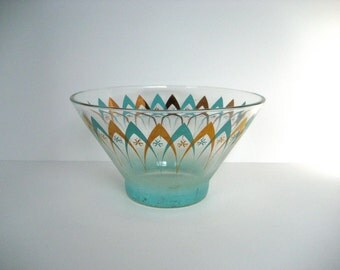 Vintage Art Deco Turquoise/Teal & Gold Punch Bowl // 1960s