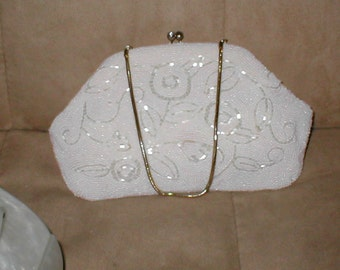 Vintage 1940's White Beaded Evening Bag Purse by Josef