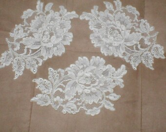 lot of 3 Large IVORY Beaded Vintage Alencon Lace Appliques