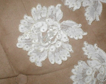 lot of 4  IVORY Beaded Vintage Alencon Lace Appliques