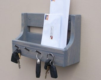 Handmade Rusic Entryway Mail And Key Holder Weathered Grey
