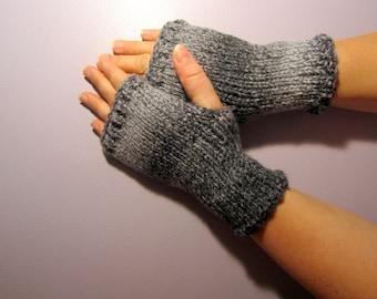 Fingerless Gloves - Grey and White Mix Hand Knit Fingerless Gloves