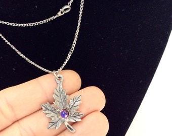 Maple leaf necklace vintage leaf necklace pewter leaf necklace signed Natalia