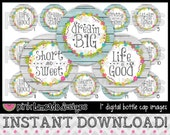 "Life is Good - INSTANT DOWNLOAD 1"" Bottle Cap Images 4x6 - 662"