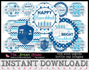 "Happy Hanukkah - INSTANT DOWNLOAD 1"" Bottle Cap Images 4x6 - 734"