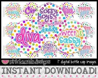 """Diva Dots - INSTANT DOWNLOAD 1"""" Bottle Cap Images 4x6 - 651"""