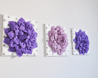 "Home Decor Wall Art -SET of THREE Lavender and Lilac Dahlias White with Gray Polka Dot 12 x12"" Canvas Wall Art - 3D Felt Flower"