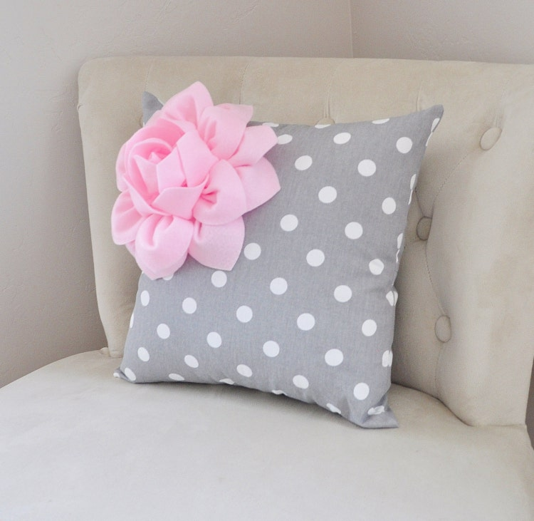 decorative pillow light pink corner dahlia on gray and by bedbuggs. Black Bedroom Furniture Sets. Home Design Ideas