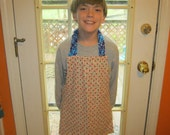 Child's Apron, alphabet red and blue Montessori style reversible apron
