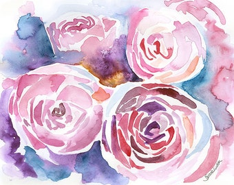 Abstract Peonies Watercolor Painting Giclee Print 10 x 8 Floral - 11 x 8.5 Fine Art Print