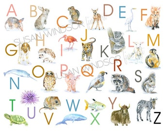 Animal Alphabet Large Poster - Watercolor Animals - Nursery Art ABCs - Kids Room - Children's Art