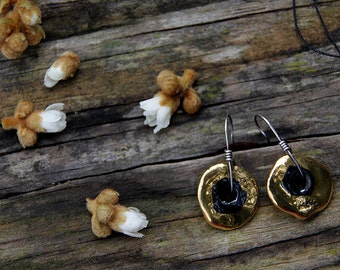 Golden slices of life - ceramic and sterling silver earrings