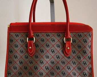 Vintage Dooney And Bourke Canvas and Red Leather Handbag, 1970s Dooney & Bourke Inc, Dooney and Bourke, Canvas Handbag, Purse