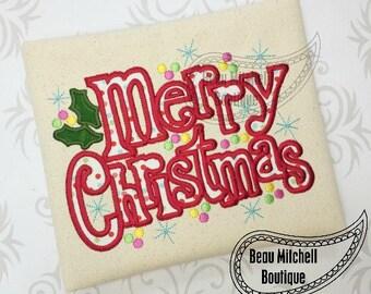 Merry Christmas holly applique