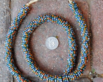 Krobo Disk Beads: Green/Blue/Orange (3x14mm)
