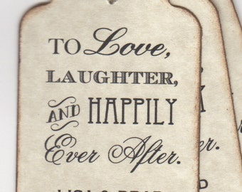 100 Wedding Favor Tags, Shower Favor Tags, Place Card Escort Tags, To Love Laughter And Happily Ever After - Vintage Style