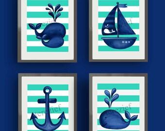 teal navy blue whale art, kids bathroom art, children Kids Art PRINTS, whale bathroom artwork