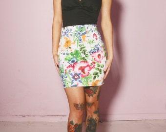 Floral high waisted Mini Skirt