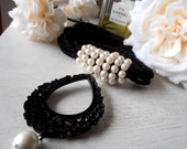 SALE Black curtain tieback with faux pearls, black cord,  drapery holder - tie backs curtain, Coco style