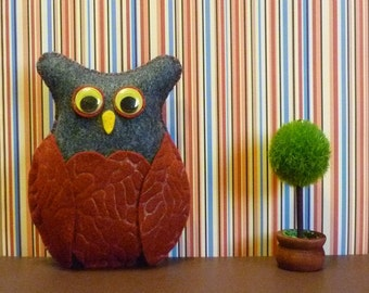 Woodland owl plush home decor forest friend toy felt gift recycled material eco-friendly