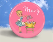 Pocket Mirror, Magnet or Pinback Button - Happy Housewife - 2.25 Inches - Party Favor, Bridesmaid Gift, Shower Favor, Wedding Favor