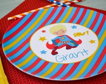 Personalized Superhero Plate / Personalized Super Hero Plate Multi Stripe / Personalized Plates for kids / Kids Personalized Plate