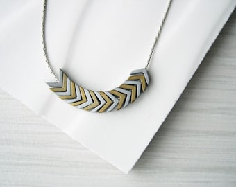 Contemporary Jewelry - Modern Necklace, Mixed Metal, Hematite, Stone, Metallic, Gold, Silver, Chevron, Arrow, Matte, Simple