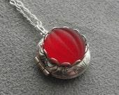 Garnet Locket Victorian Cameo Locket Necklace Teacher Gifts 1st Anniversary Gift Silver Locket for Mom