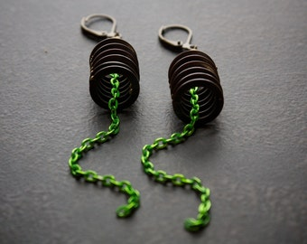 Stacked Antique Brass Ring Earrings with Long Acid Green Chain Dangle