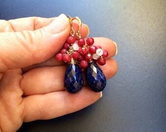 Indian Sapphire Ruby Moonstone Gem Stone Gold Earrings
