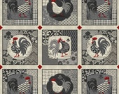 "Poulets de Provence by Steven Haskamp for SPX fabrics - 23.5"" Rooster Panel in Gray, Cream, Red, and Black"