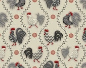 Poulets de Provence by Steven Haskamp for SPX fabrics - Roosters on Red, Tossed Roosters