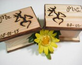 DEER Wedding Ring Boxes 2 pcs -Mr and MRS mini boxes, Camo, Hunting, Rustic Wedding -PERSONALIZABLE