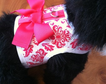 Hot Pink Damask Small Dog Harness Made in  USA
