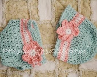 Crochet Baby Hat and Diaper Cover Set, Newborn Crochet Hats, Baby Girl Hat, Cotton Baby Hat, Blue, White, Pink, Newborn Size