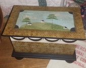 Colonial/early American painted box, primitive landscape, decorative box, hand painted,  folk art, table top box, wooden box, faux graining